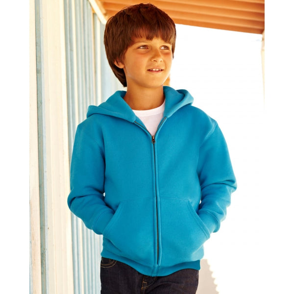 Fruit Of The Loom Children's Hooded Sweatshirt Jacket 62045 lifestyle image boy azure blue