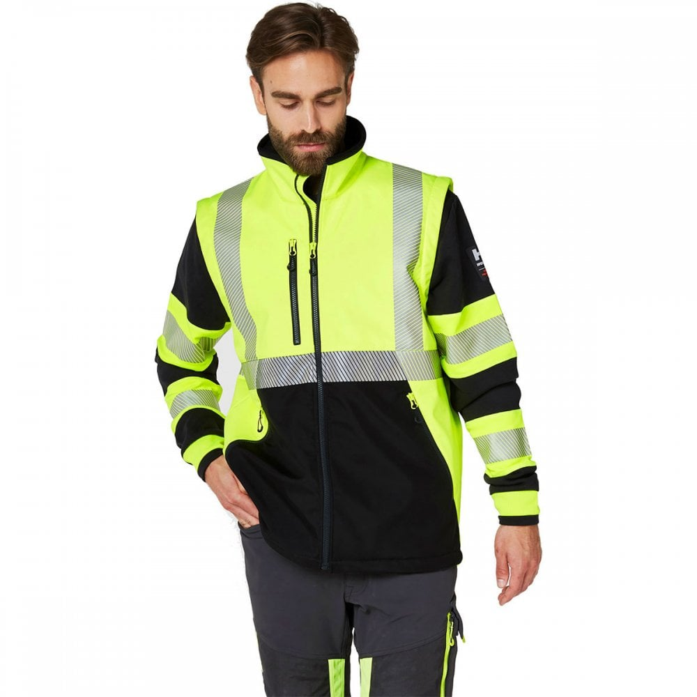 Helly Hansen ICU EN471 Softshell Jacket 74272 EN471 Yellow Black front view lifestyle image