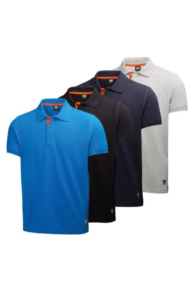 Helly Hansen Oxford Polo 79025 racer blue navy grey melange black angled image view