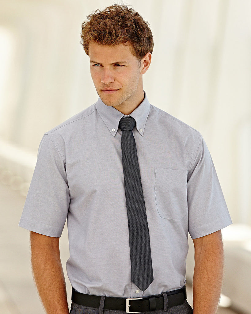Fruit Of The Loom Oxford Short Sleeve Shirt 65112 lifestyle image oxford grey