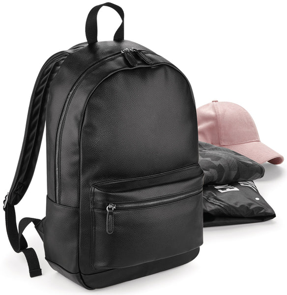 Bagbase Faux Leather Fashion Backpack BG255 Black