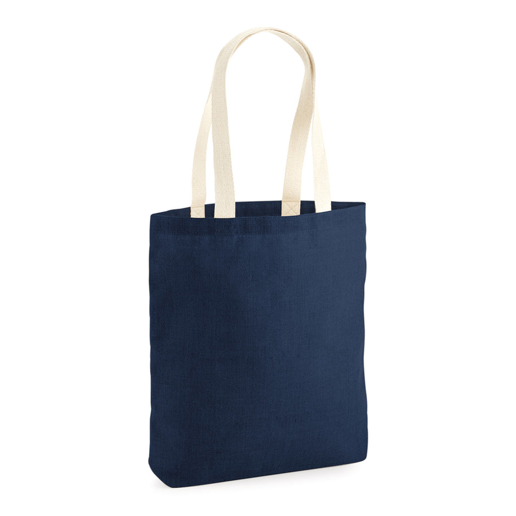 Westford Mill Unlaminated Jute Tote W455 Navy/Natural