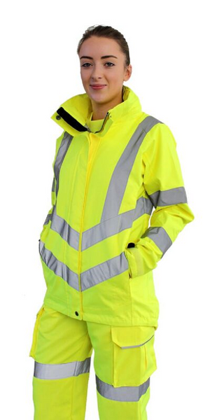Portwest Ladies Hi-Vis Breathable Jacket LW70 yellow lifestyle image front view