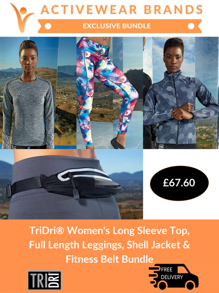 TriDri® Women's Long Sleeve Top, Full Length Leggings, Shell Jacket & Fitness Belt Bundle | Cheapest Online