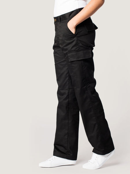 Uneek Ladies Womens 245GSM Cargo Trouser UC905 lifestyle image side view black