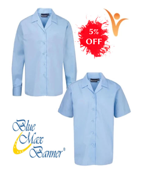 Back to School Offer 5% OFF -  Blue Max Banner Twin Pack Revere Short Sleeve and Long Sleeve Blouse