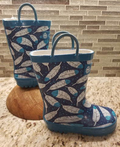 Blue feather rain boots