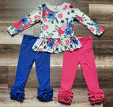 Blue and Pink Floral Tunic Top