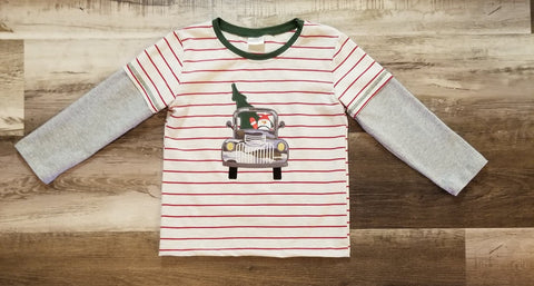 Toddler boys striped top with camo truck featuring Santa driving hauling a tree.