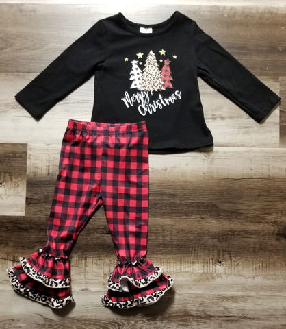"Black long sleeve top with buffalo plaid and leopard print trees on the front with phrase"" Merry Christmas"" and buffalo plaid bell bottom leggings with two ruffles trimmed in leopard print."