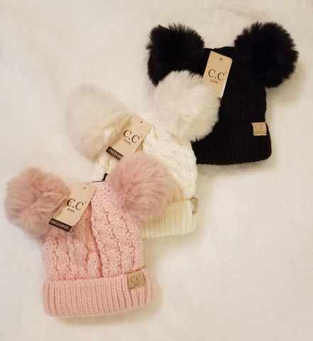 Kids Cable Knit Double Matching Fur Pom CC Hat
