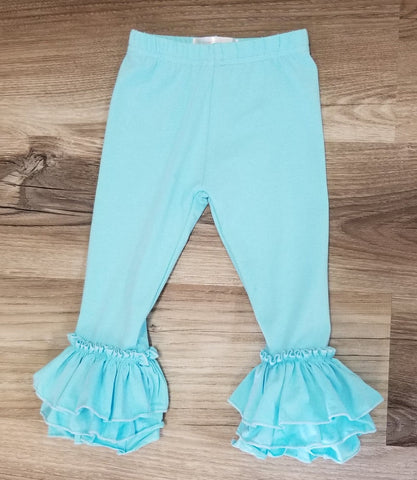 Aqua blue tulip ruffle leggings for babies and girls.