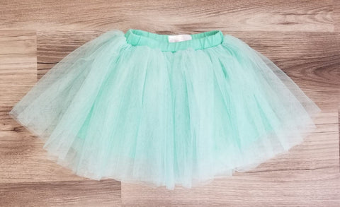 Aquamarine tulle skirt.