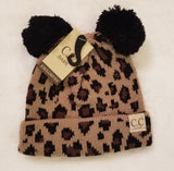 Baby Leopard Double Pom CC hat