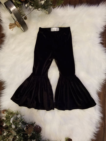 Black velvet pleated bell bottom pants for baby and toddler girls.
