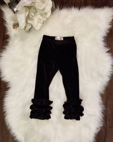 Ultra soft black velvet icing ruffle leggings for baby and toddler girls.