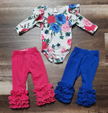 Blue and pink floral leo pairs with royal blue or dark pink icing ruffle leggings.