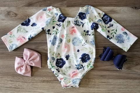 Baby girl buttery soft long sleeve blue floral leo.
