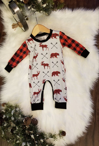 Baby boy romper.  Grey body with buffalo plaid print moose, bears and deer.  Sleeves are buffalo plaid print.
