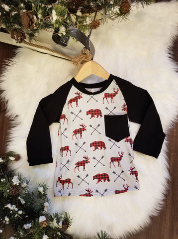 Black long sleeve top with black pocket on the front.  Grey body with buffalo plaid print moose and bears.