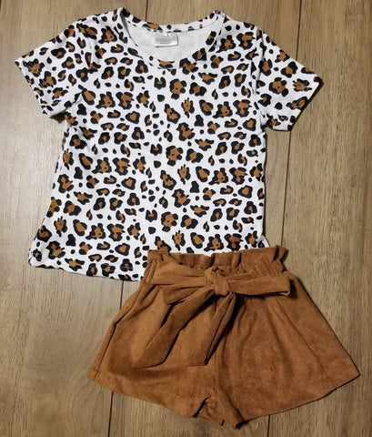 Short sleeve leopard print top and high waisted brown suede shorts set for girls.