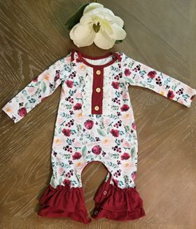 Exclusive-Burgundy floral romper