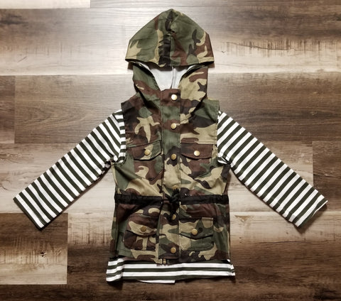 Olive green striped top with canvas fatique camo hooded vest.