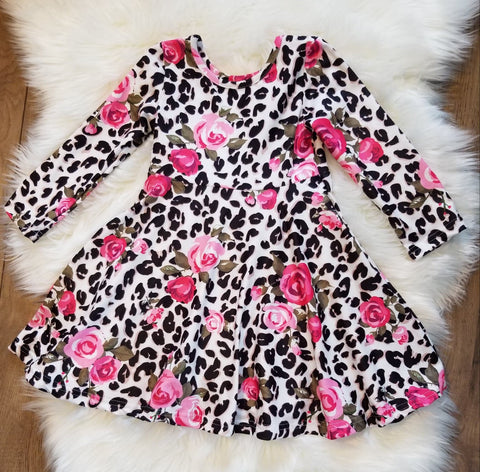 Cheetah print long sleeve twirl dress with pink roses.