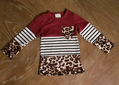 Burgundy top with stripes and leopard - kids