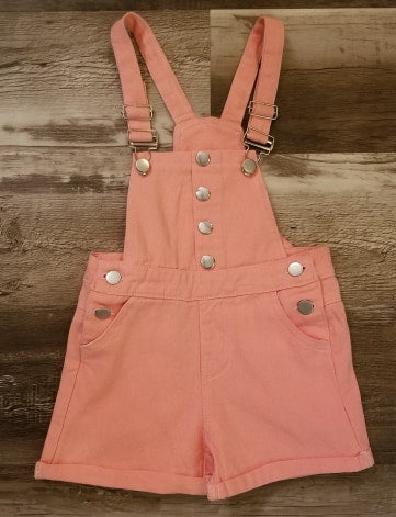 Coral denim overall shorts with adjustable straps and button sides.