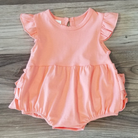 Baby Coral Flutter Sleeve Ruffle Romper