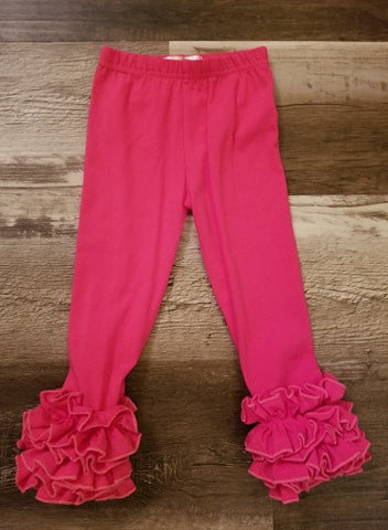 Dark pink cotton icing ruffle leggings for baby and toddler girls.