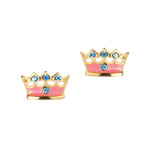 Pink Princess crown earrings