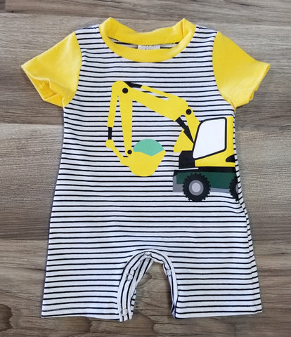Baby boy black and white striped shorts romper with yellow excavator on the front.