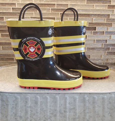 Fire fighter loop handle rain boots