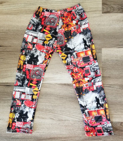 Kids straight leg fire department print pants.