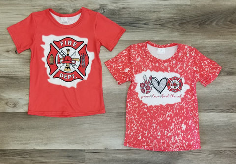 Kids short sleeve fire department tops.