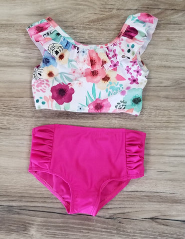 Floral 2 piece swim suit