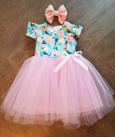Flutter sleeve floral tutu dress