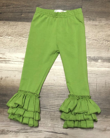 Green Apple Tulip Ruffle leggings for baby and toddler girls.