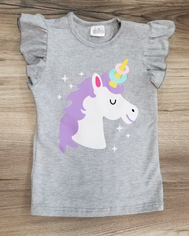 Grey flutter sleeve top with unicorn print.