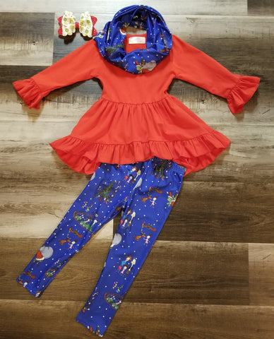 3 piece set- Red high low ruffle top, blue grinch inspired Who-Ville scene infinity scarf and leggings.