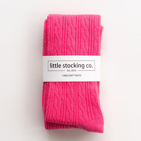 Hot Pink Cable Knit Tights