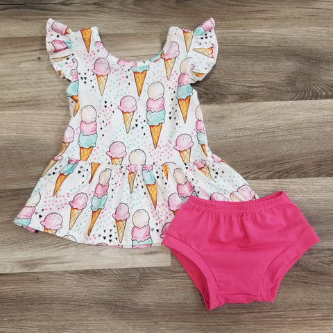 Baby girls ice cream cone printed tunic top and dark pink cotton bummies