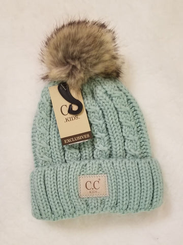 Kids Cable Ribbed Fur Pom Beanie hat