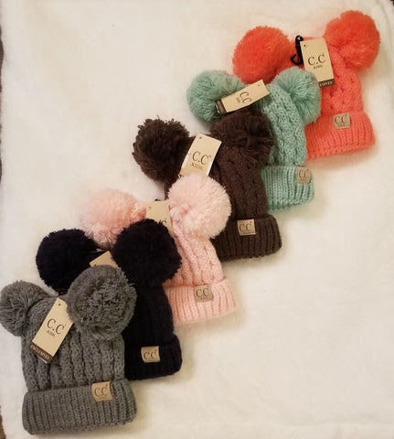 Kids Solid Double Pom CC hat