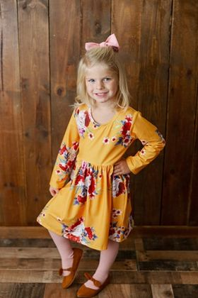 Marigold long sleeve floral print dress for toddler girls.