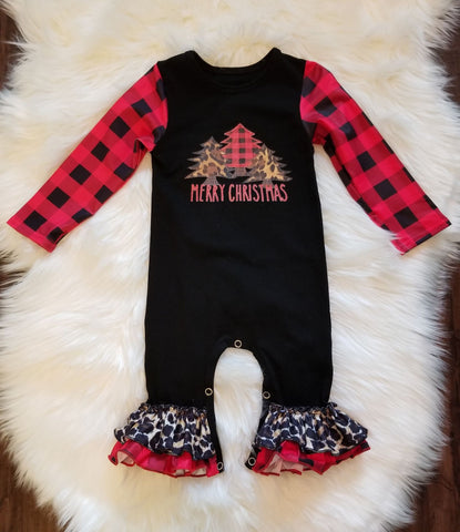 Black romper with Merry Christmas vinyl applique with buffalo plaid and leopard print trees.  Sleeves are buffalo plaid.  Ruffles on leg are leopard and buffalo plaid.