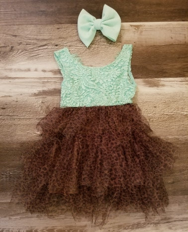 Mint lace Tank style dress with cheetah tulle skirt.  Back has deep V.