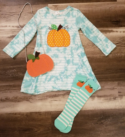 Mint tie dye striped dress with pumpkin on front.